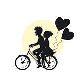 young cute couple riding bike with heart balloons romantic silhouette vector illustration