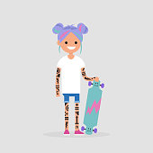Young cute girl wearing pastel color hairstyle. Tattoo and skate board. Youth culture. Trendy millennial. Flat editable vector illustration, clip art
