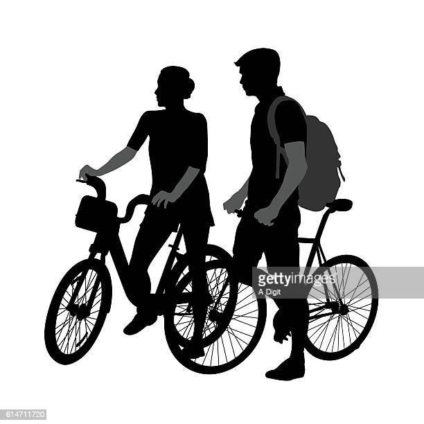 young cycling couple - erwachsene person stock-grafiken, -clipart, -cartoons und -symbole