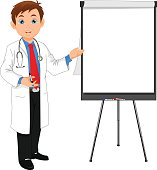 young doctor and blank sign