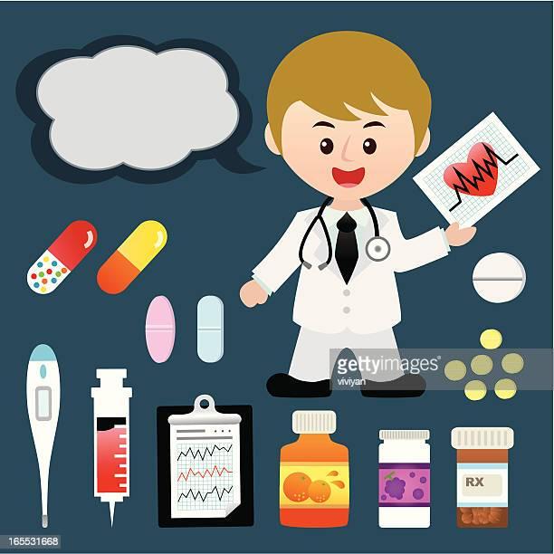 若い医者、医療品