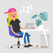 Young exhausted female employee sleeping on a workplace. Nap. Office. Flat editable vector illustration, clip art