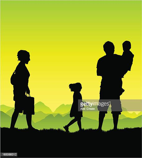 Young family enjoy the country air.