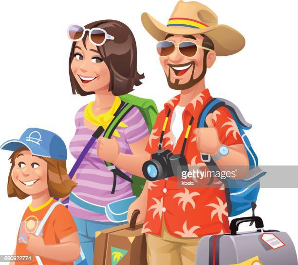 young family going on vacation - hawaiian shirt stock illustrations