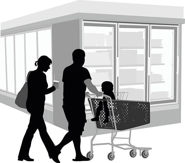 young family grocery shopping - frozen food stock illustrations