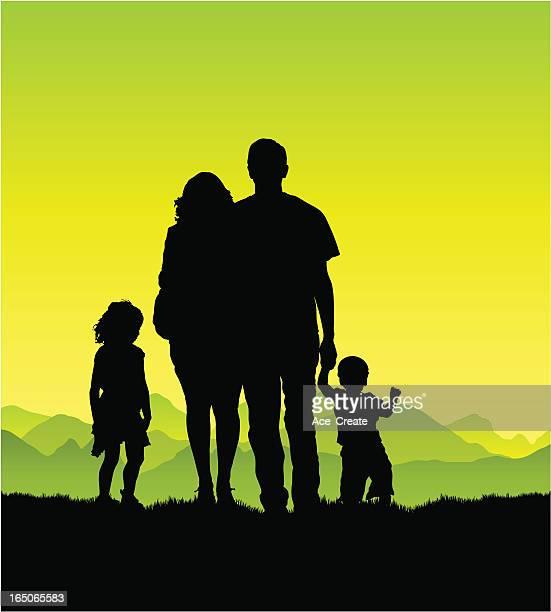 若い家族の田園地帯