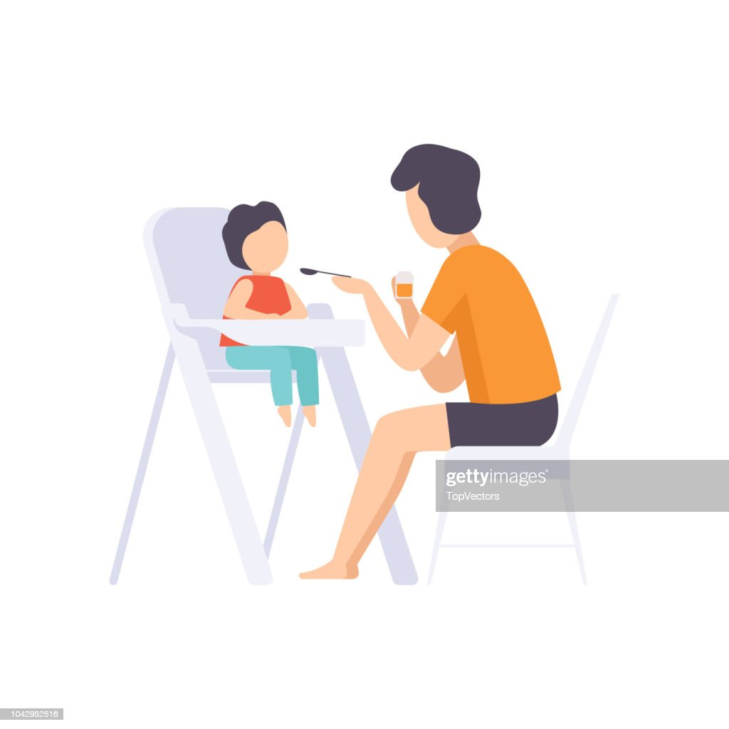 Young father feeding baby sitting in the highchair, dad taking care of his child vector Illustration on a white background