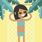 Young female character lying in a hammock under the palm trees. Top view / flat editable vector illustration, clip art