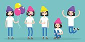 Young female character. Set of different poses and emotions / flat editable vector illustration, clip art