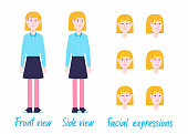 Young female character set ready for animation: separated arms/legs/body, 2 poses, facial expressions.