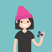 Young female character spinning a hand toy. Stress relieving toy / flat editable vector illustration, clip art
