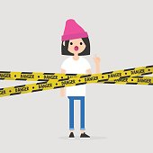 Young female character standing behind the crossed danger police tape / flat editable vector illustration, clip art