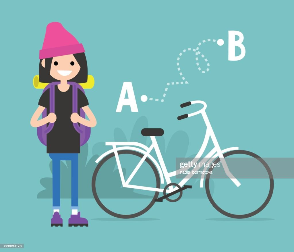 Young female character traveling by bicycle from A to B. Flat editable vector, clip art