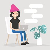 Young female character typing messages on a laptop. Remote communication. Modern lifestyle. Copy space. Flat editable vector illustration.