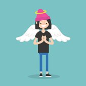 Young female character wearing angel costume: nimbus and wings / flat editable vector illustration, clip art