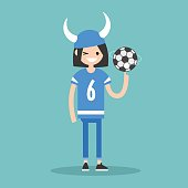 Young female character wearing football form spinning a ball / flat editable vector illustration, clip art