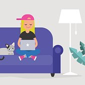Young female freelancer working at home / flat editable vector illustration, clip art