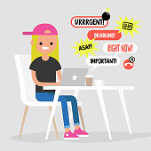 Young female manager receiving a bunch of notifications on the laptop messenger. Troubleshooting. Deadlines and urgent tasks. Business situation. Flat editable vector illustration, clip art