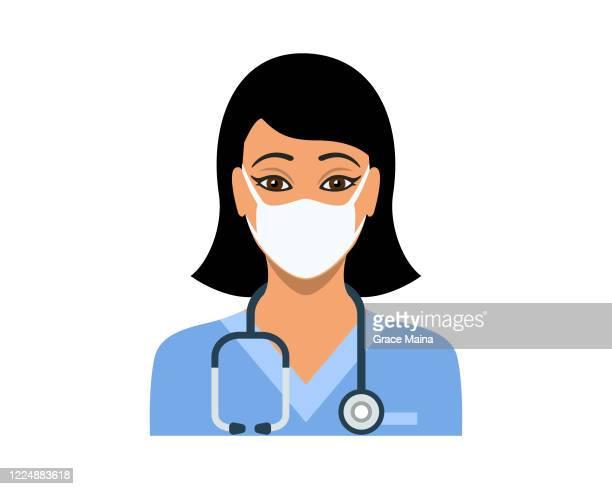 ilustraciones, imágenes clip art, dibujos animados e iconos de stock de enfermera joven en matorrales de enfermera azul con un vector estetoscopio - enfermera