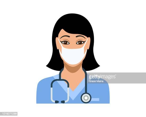 ilustraciones, imágenes clip art, dibujos animados e iconos de stock de joven enfermera que lleva una mascarilla protectora - enfermera