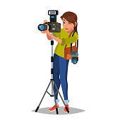 Young Female Photographer Vector. Take A Photo. Photographic Equipment. Holding A Camera. Isolated On White Cartoon Character Illustration