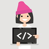 Young female programmer pointing on the closing bracket tag on a laptop screen / flat editable vector illustration, clip art