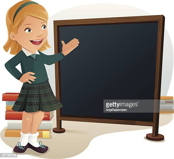 young female student wearing school uniform pointing at blank chalkboard - school uniform stock illustrations, clip art, cartoons, & icons