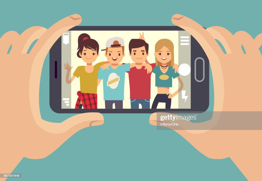 Young friends teenagers taking photo with smartphone. Friendship vector concept