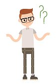 Young geek is shrugging his shoulders and asking a question