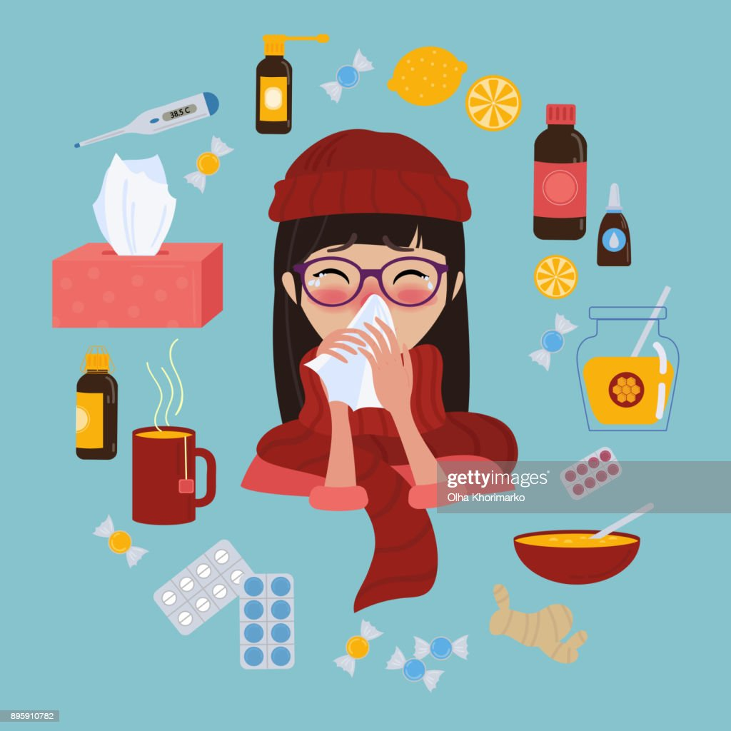 Young girl caught cold flu or virus. Treatment of illness