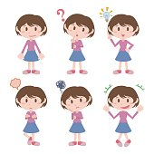 young girl character various feeling clip art set, vector illustration
