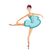 Young girl dancer in ballerina costume, makes smooth movements