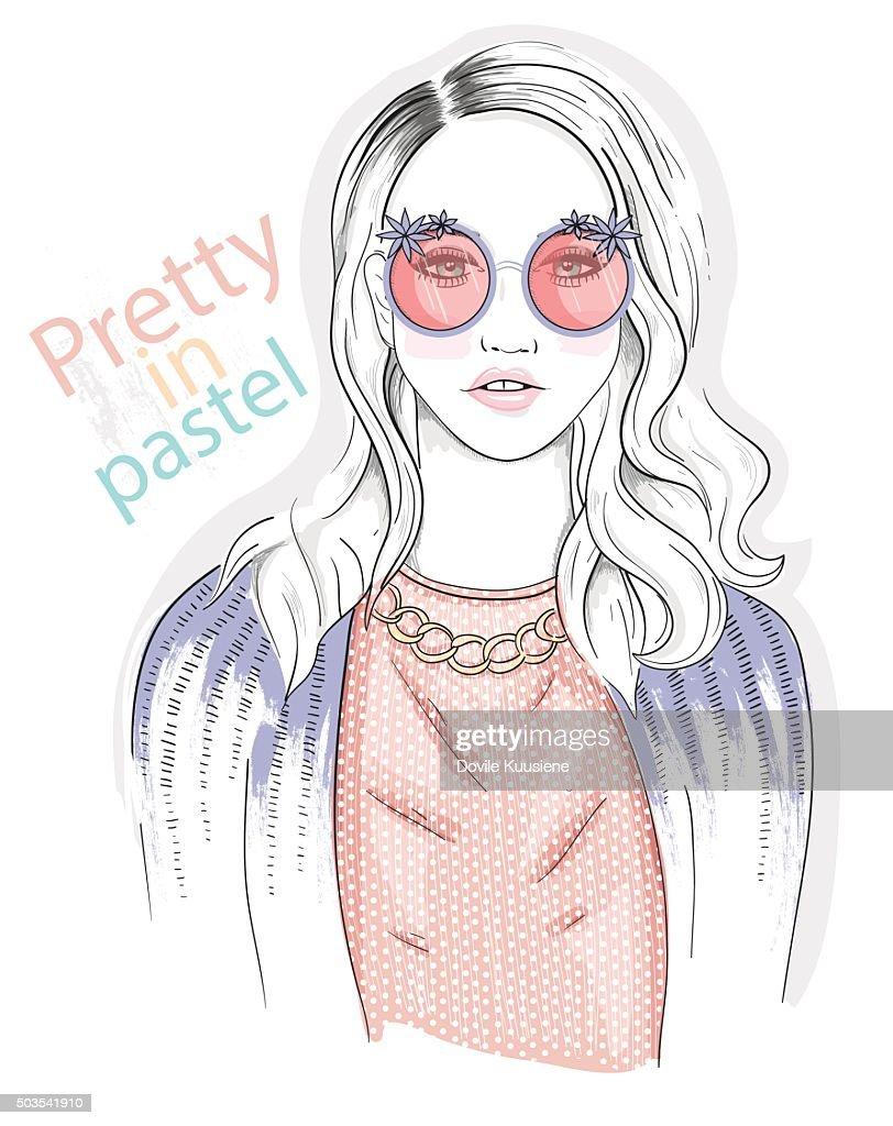 Young girl fashion illustration