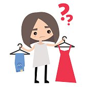 Young girl is trying to decide what to wear