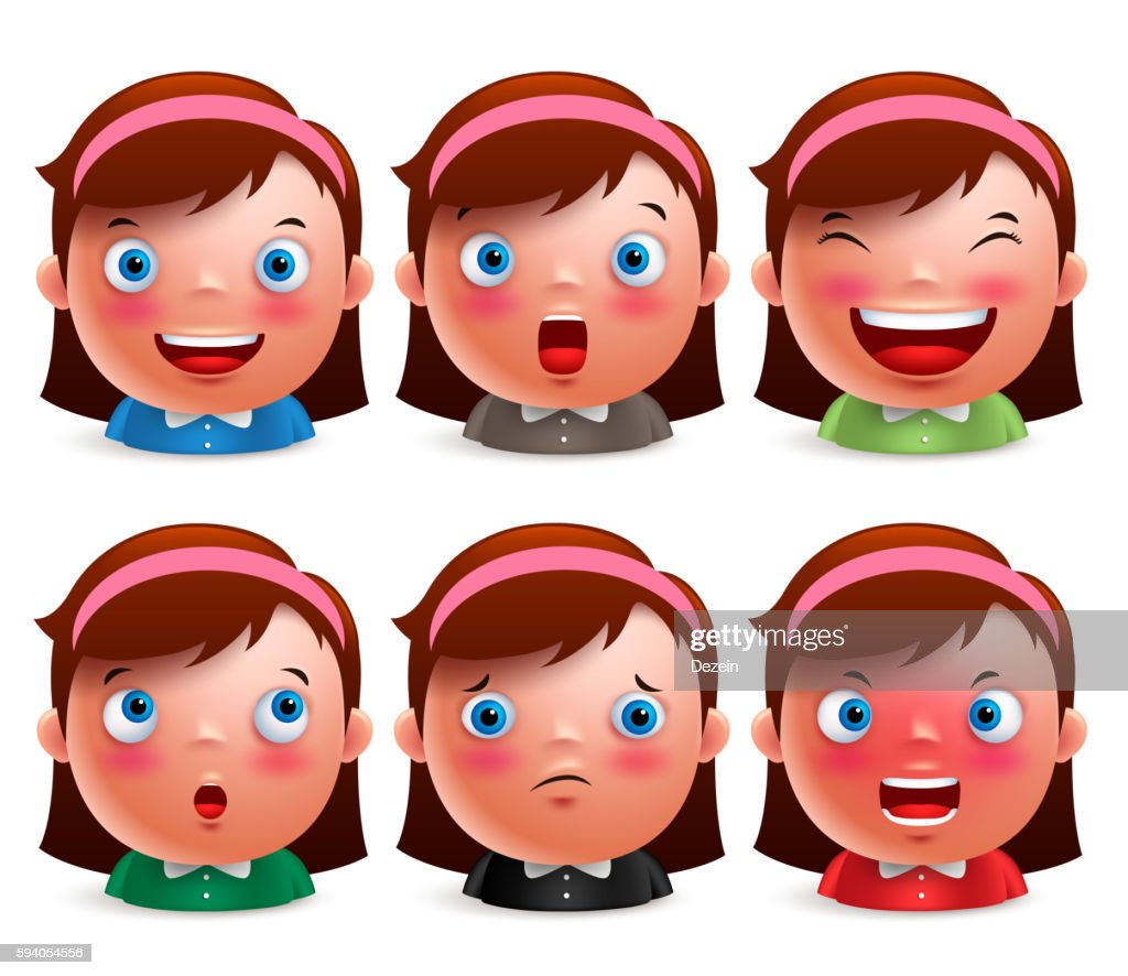 Young girl kid avatar facial expressions set of emoticon heads