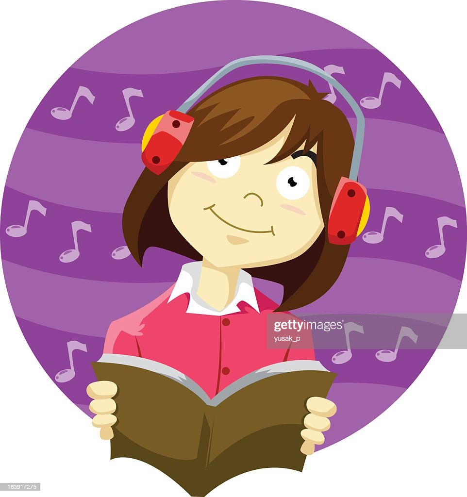 Young Girl Listen to Music While Reading a Book