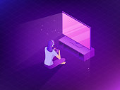 Young girl playing video games. Vector flat game illustration