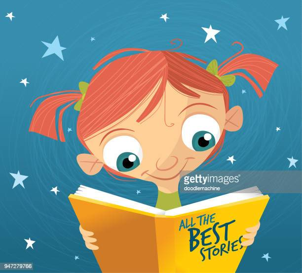 Young girl reading a book before bed of ALL THE BEST STORIES!