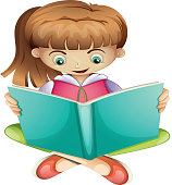 Young girl reading a book seriously