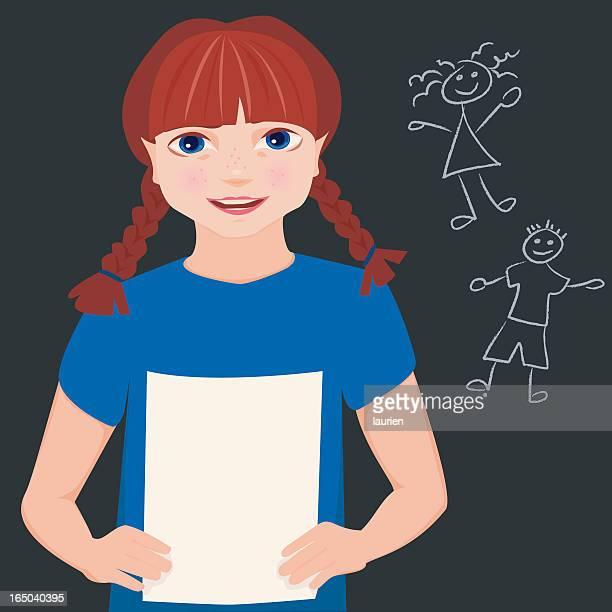 illustrations, cliparts, dessins animés et icônes de jeune fille lisant un livre à son rapport. - devant