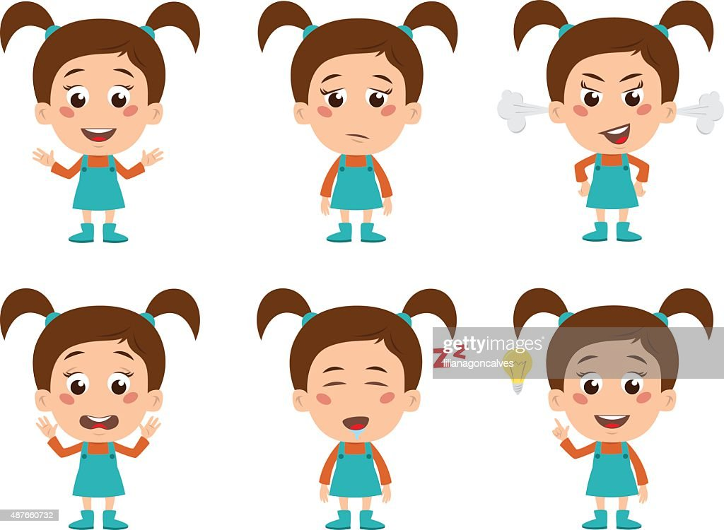 Young Girl Set of Emotions