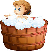 Young girl taking a bath
