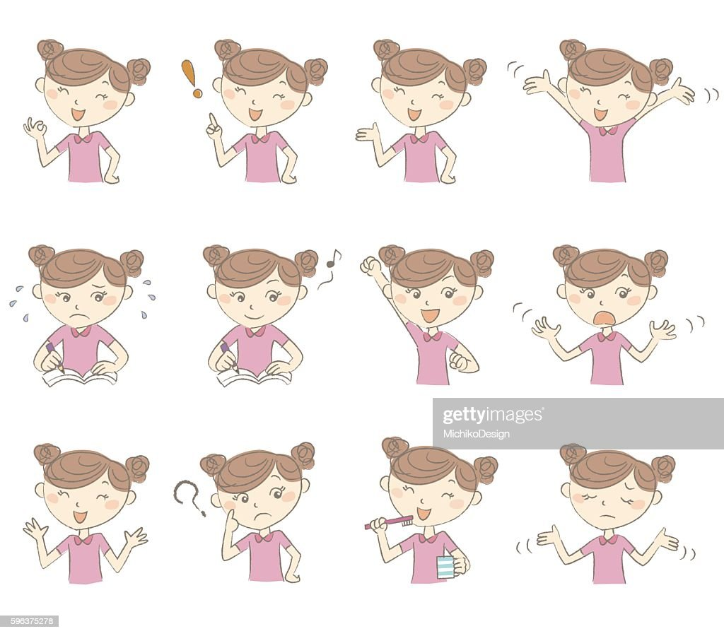 Young girl with various poses and emotions