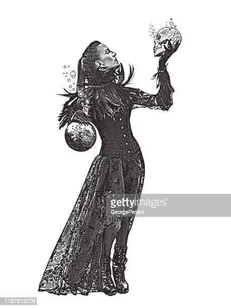 young goth woman holding skull - witch stock illustrations