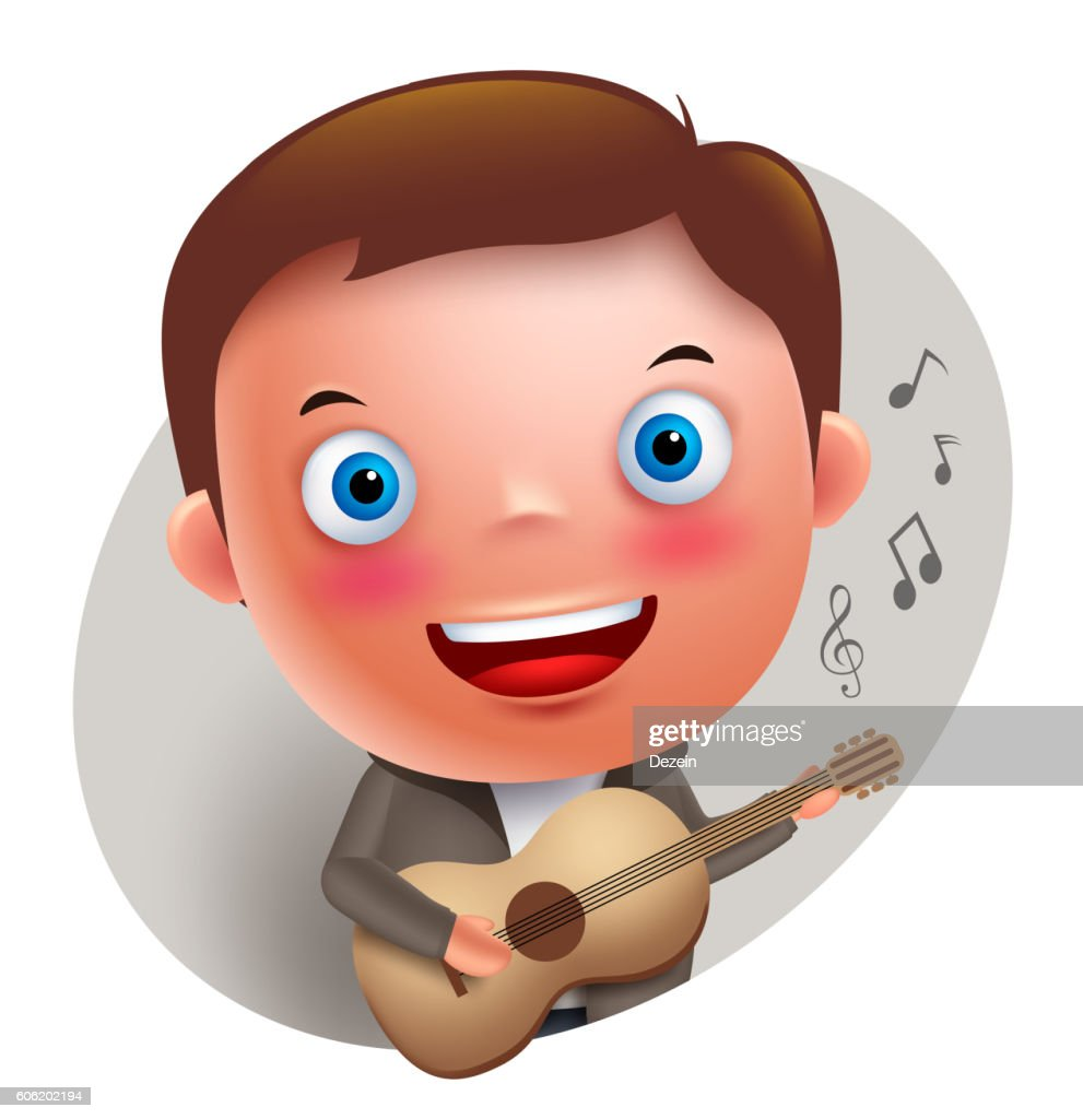 Young guitarist player vector character singing and holding guitar