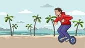 Young guy in red hoody riding hoverboard on tropical beach background. Flat line vector illustration. Horizontal.
