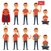 Young guy vector flat character set. Cartoon illustration of a happy businessman in casual clothes in different poses: with a sign, with a laptop, with a phone and in a superhero costume, etc.