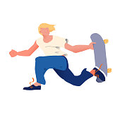 Young guy with golden hair on skateboard. The skateboarder does a trick in a jump. Flyer or poster for goods for sportsmen skateboarders. Cool dude man. Flat vector illustration.