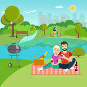 Young happy couple having picnic and drinking red wine the lake in the Park. Vector flat illustration