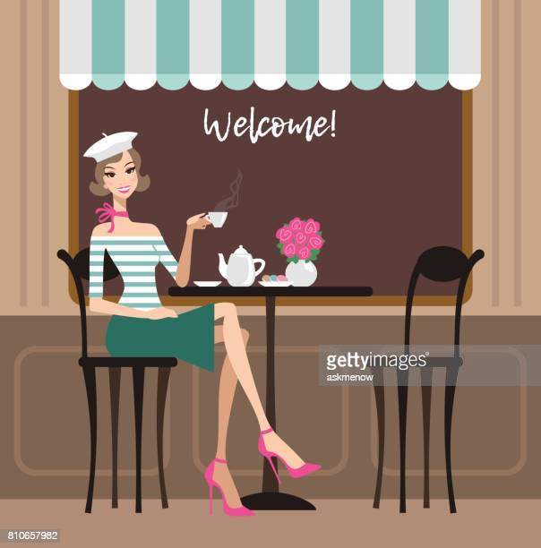 young happy woman in a cafe - nice france stock illustrations, clip art, cartoons, & icons